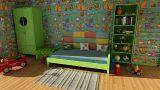 מיטה יחיד עם ארון וארגז צעצועים